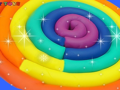 Learn Colors of the Rainbow with Play Doh for Kids * How to Make a Giant Rainbow