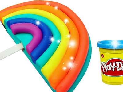 Play Doh! How to Make a Giant Rainbow Popsicle with Modelling Clay DIY