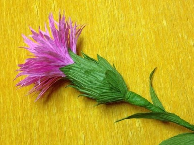 Beautiful Knapweed Crepe Paper flowers - Flower Making of Crepe Paper - Paper Flower Tutorial