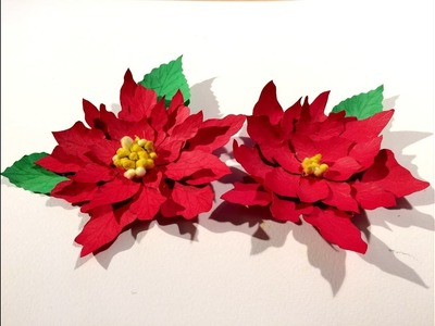 Christmas flower : Poinsettia : Paper flowers - Christmas decoration : Paper Craft