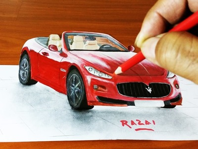 How to draw and paint Maserati car 3d illusion on paper | dessin 3D | 3d drawing