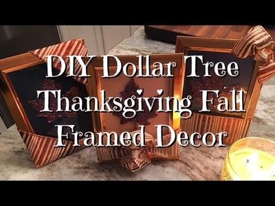 DIY Dollar Store Framed Leaf Thanksgiving Decor