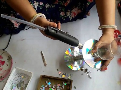 DIY LAMP BY CD AND PET BOTTLE RECYCLING : DIY DIWALI DECOR IDEA