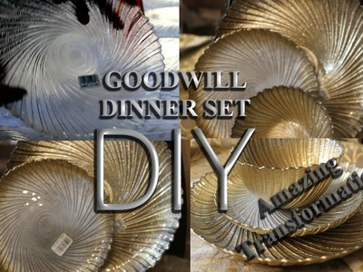 GOODWILL DIY  DINNER PLATE SET   (from clear glass to glam)