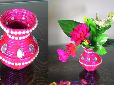 How to make newspaper flower vase   DIY newspaper crafts