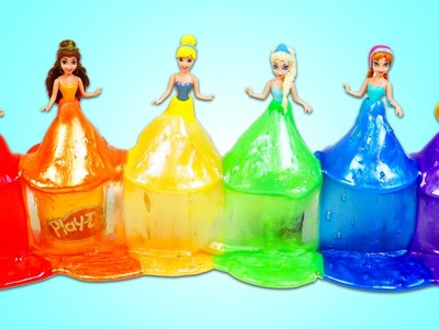 DIY Disney Princess Play Doh Slime Dresses! How to Make EASY Rainbow Slime Costumes