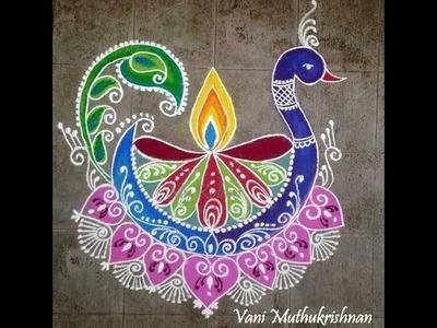 DIY Peacock rangoli design  Peacock rangoli designs for diwali free hand Hemlata's Rangoli