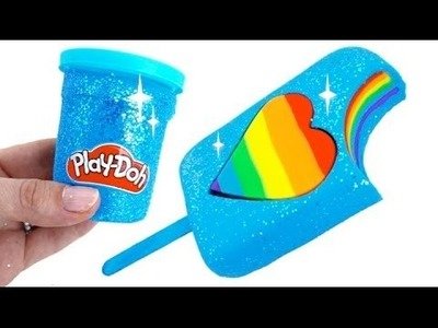 Play Doh DIY - How to Make Play Doh Sparkle Heart Popsicle Modelling Clay Learn Colors