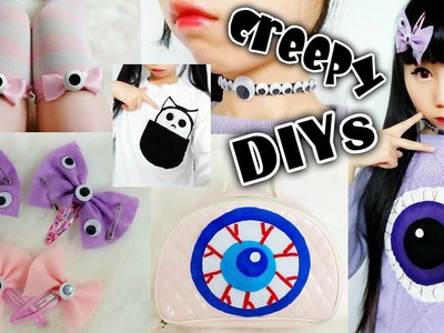 6 Creepy DIYs: DIY Eyeball Thigh Highs, Choker, Sweater, Purse +DIY Pin Eyeball Hairclips + more
