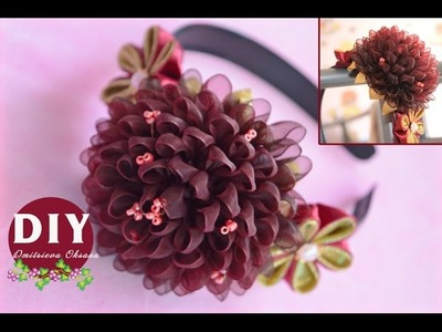 DIY.Kanzashi flower tutorial. Headband hair.Flowers from ribbon.Dahlia Flower kanzashi