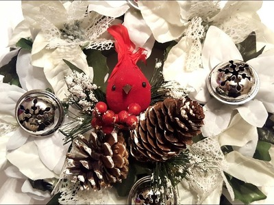 DIY Dollar Tree Christmas Wreath - Silver Bells & Poinsettias