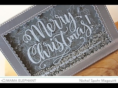 Mama Elephant Merry Christmas Wishes Silver & White Shaker Card