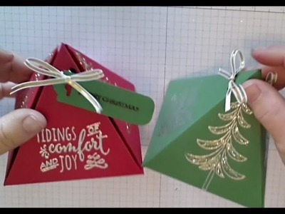 Stampin Up Christmas Pines Pyramid Gift Box Stamping with DonnaG
