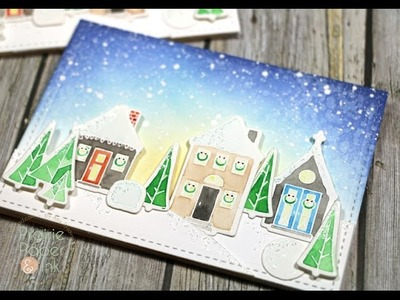 WPlus9 Holiday Houses | AmyR 2016 Christmas Card Series #2 | Mission Gold Watercolor