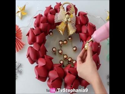 An amazing Christmas door wreath made from plastic bottles