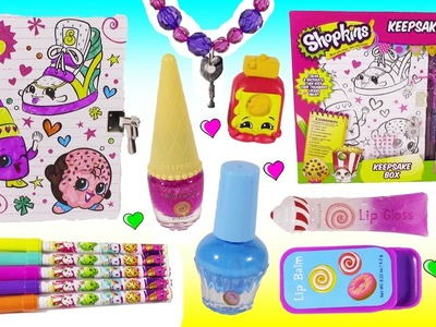 DIY SHOPKINS Secret Box! Stickers DIY Key Bracelet! Cute Squishy! Candy Lip Balm Nail SET! FUN