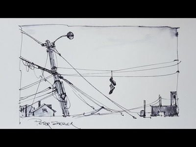 A pen and ink sketch of Utility Poles using water soluable ink. With Peter Sheeler