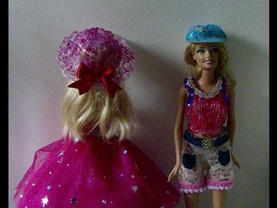 Como fazer 2 Chapel para Barbie -Barbie hat with hot glue