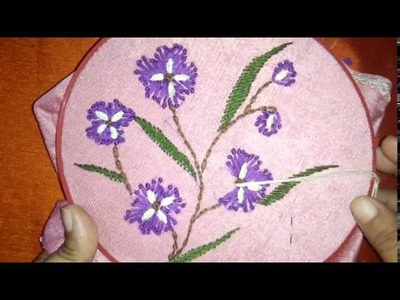 Beautiful embroidery flower design with combination of caston and long French knot