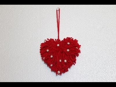 DIY- Easy Valentines Day Craft: DIY Yarn Heart