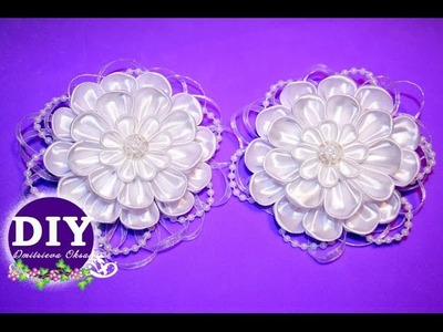 DIY. Elegant bows.Kanzashi tutorial.Flower scrunchy.The Flower from the satin ribbon.
