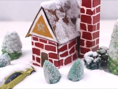 DIY Miniature Snow House.DIY Dollhouse.DIY Miniature  House with Garden - Video
