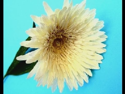 Flower-How to Making paper shrugged gerberas 2016 from crepe paper |Craft Tutorial| DIY Idea