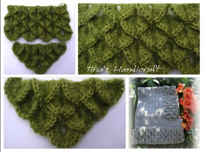 How to make crocodile crochet stitch No 7 -- part 1 (straight line )