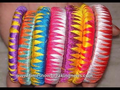 How to make silk thread bangles | zig zag silk thread bangles, thread making tutorial for beginners