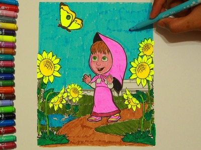 Masha and Butterfly Coloring Painting Book Tutorial DIY - Cartoon Funny For Kids #8