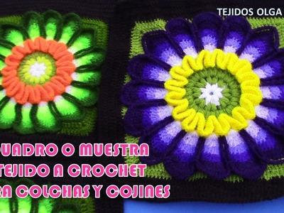 Muestra a cuadro N° 27 PARTE 1 tejido a crochet para colchas y cubrecamas