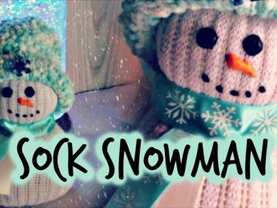 NO- SEW SOCK SNOWMAN TUTORIAL | EASY HOLIDAY CRAFT DIY