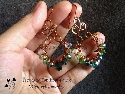 Tutorial earing with sparkling crystal - How to make wire jewelery