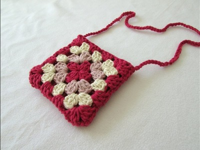 VERY EASY crochet granny square purse. bag tutorial