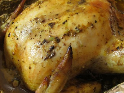 Whole Roast Chicken Recipe - How To Make Baked Chicken With Garlic And Mustard - Quick and Easy