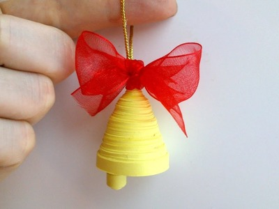 How to make a Quilling Paper Christmas Bell Decoration.