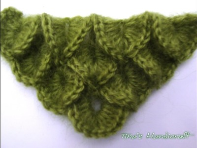 How to make crocodile crochet stitch No 7 - part 2 ( triangular )
