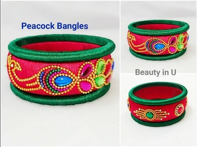 How to make Designer Peacock Silk Thread Bangles at Home | Tutorial