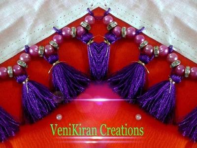 How to make Saree Kuchu.Tassels Design using Silk Thread with Beads - Design 5