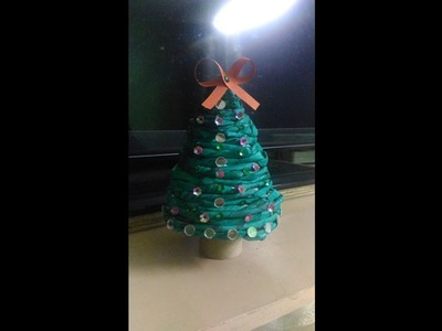 Mini christmas tree made of newspaper-DIY-BEST OUT OF WASTE