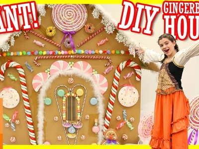 DIY GIANT GINGERBREAD HOUSE! WITH HANSEL AND GRETEL SKIT!  |  KITTIESMAMA