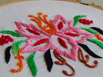 Hand Embroidery:3D satin stitch