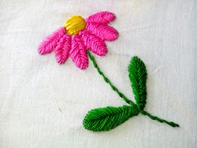 Hand Embroidery : Raised Fish bone Stitch || Floral Embroidery