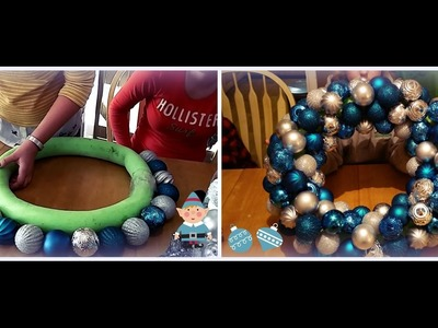 Making our Christmas Wreath with a Pool Noodle