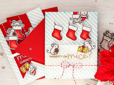 Naughty or Mice Christmas Card with Lawn Fawn