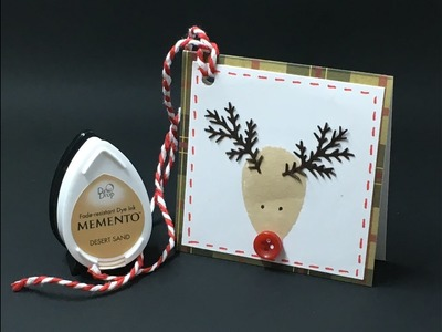 Using your Ink Pad and Branch Punch to Make a Reindeer Gift Tag