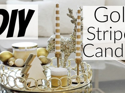 DIY Gold Striped Candlesticks for only $2