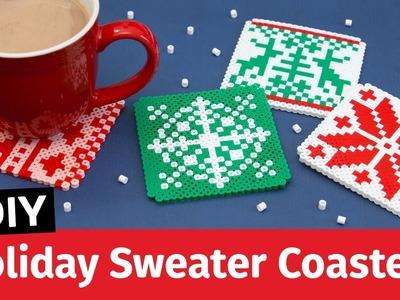 DIY Holiday Sweater Perler Bead Coasters | Sea Lemon