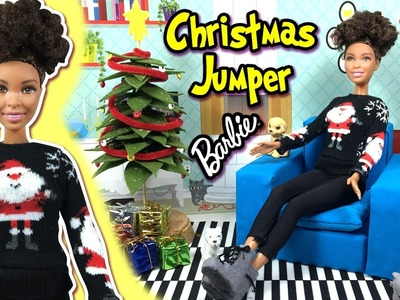DIY | How to Make Ugly Christmas Sweater. Jumper for Barbie Doll | Christmas Holiday Crafts