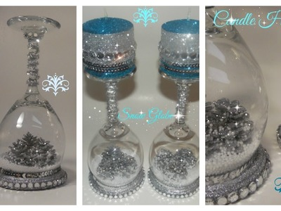 DIY - WINE GLASS SNOW GLOBE CANDLE HOLDER. DOLLAR TREE. MICHAELS (ALL THAT GLITTERS EP 3)